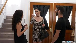 Jessica Jaymes and Silvia Sage are sharing a super lucky guy, in his huge bed