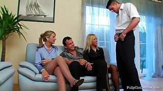 Hardcore fucking on the sofa with Bibi Fox and her sexy coworker