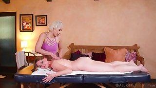 Sensual babes turn their massage session into a genuine oral shag