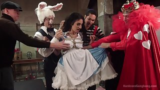 Alice in Wonderland-themed gangbang for Arabelle Raphael