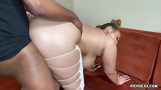 Plump, Ebony Cock Teaser With Big Boobs And Pierced Nipples Is Pleasing A Guy She Likes