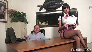 Lustful college chick gets all kinds of dirt on her old professor