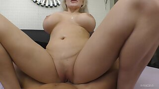 Blonde woman creams her big jugs after riding dick in flawless POV scenes