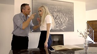 Petite babe pleases stepdad for being a naughty girl
