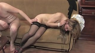 Russian Full-grown Masha gets tottering and penetrates junior boy beyond dramatize expunge sofa sexvideo