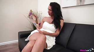 Zealous raven haired hottie Tammie Lee positively loves tickling the brush own twat