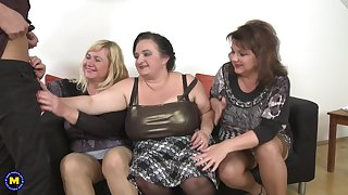 Kirsi and her MILF friends take good care of his pulsating schlong