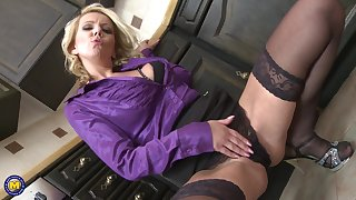 Flaxen-haired MILF Lucy Angel gets a doggy style fuck involving rub-down the kitchen