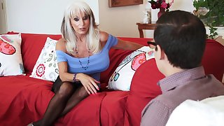 Mature blonde call-girl Sally D'angelo blows and rides a big cock