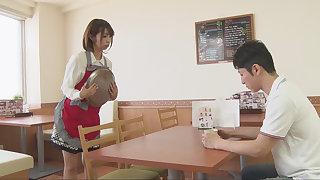 Japanese waitress is sucking customer's blarney