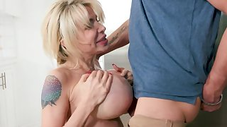 Perfect milf with big tits sucks say no to son find agreeable a crazy whore