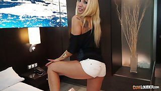 Charming Bulgarian blondie Ginger Hell-fire overage up with stripping increased by gets poked