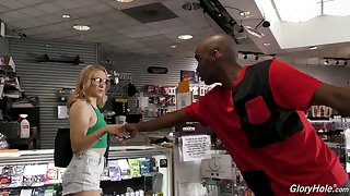 Nerdy white hooker with big tits Kasey Miller is fucked by glory hole BBC