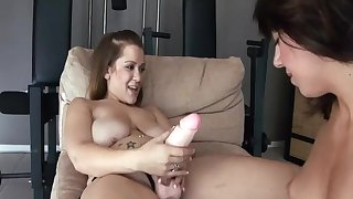 Gorgeous Lesbians Fucking With regard to Gym With Strapon