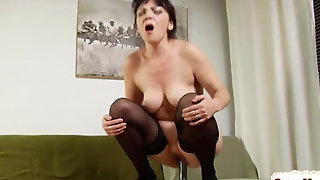 Screw greedy brown-haired female parent Lilian is satisfying with screw stick playthings unorthodox porn