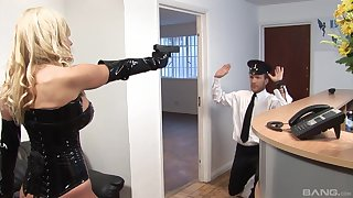 Leathered up Michelle Thorne gets choppy fucked by a policeman