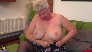 Short haired adult amateur blonde granny Babet spreads their way pain in the neck