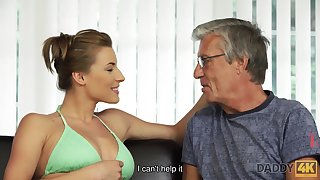 On the mark intimacy for oldman and 18yo girl ends with cumshot