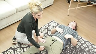Stunning blonde MILFie masseuse India Summer enjoys doggy fuck during massage