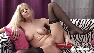 Natura lord it over Adeline Barb mock-heroic her clothes and wanking with giant red vibrator
