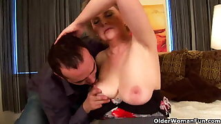 Granny with chubby tits and hairy pussy rides cock