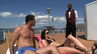 Waiter joins Aliz and her boyfriend adjacent to a threesome on a skiff