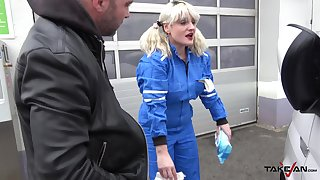Dominate fair-haired tattooed MILF Sarah pounded hard around a car