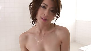 Pretty Japanese babe loves eating cum after blowjob