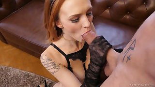 After sucking tasty cock redhead Belle Claire rides aroused stud on top