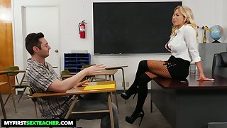 Student has the honor to fuck mega busty strict teacher Olivia Austin