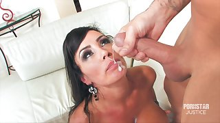 MILF Lisa Ann's face is covered in sperm after she takes mind a look after of him
