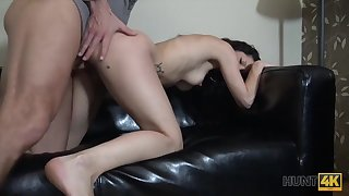 HUNT4K. Heavy-Breasted darkhaired babe gets her bald pussy hoochie-coochie banged...