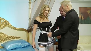 Tanya Tate playing with two hard dicks before getting fucked by them