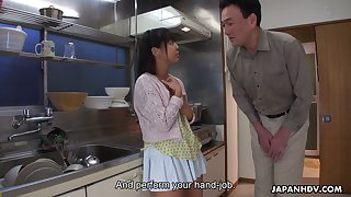 Zealous Tomoyo Isumi is Japanese blowlerina who stands on knees to give BJ