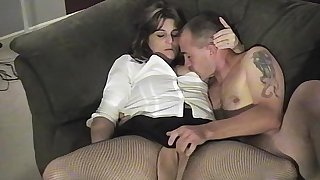 Thick brunette wife couldnt wait to suck and fuck her husband on camera