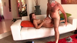 Senior man takes good care of her fresh pussy