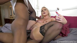 Perfect display of mommy going black and fucking in DP