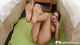 Nasty stepmom uses her feet on his shaft