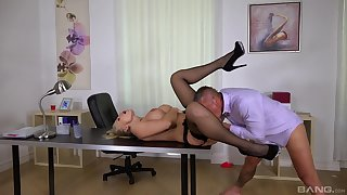 Inked blonde goddess Kayla Green fucked hard in the office