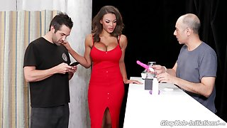 Busty sexpot with big bum Halle Hayes uses glory hole cock for pussy polishing