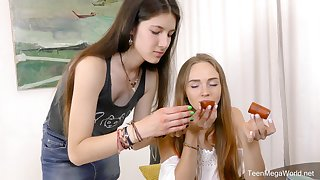 Hot lesbian sex scene with skinny best friends Alex Diaz and Camille