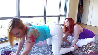 Lucky husband fucks his wife Lady Fyre and her friend Sophia Locke